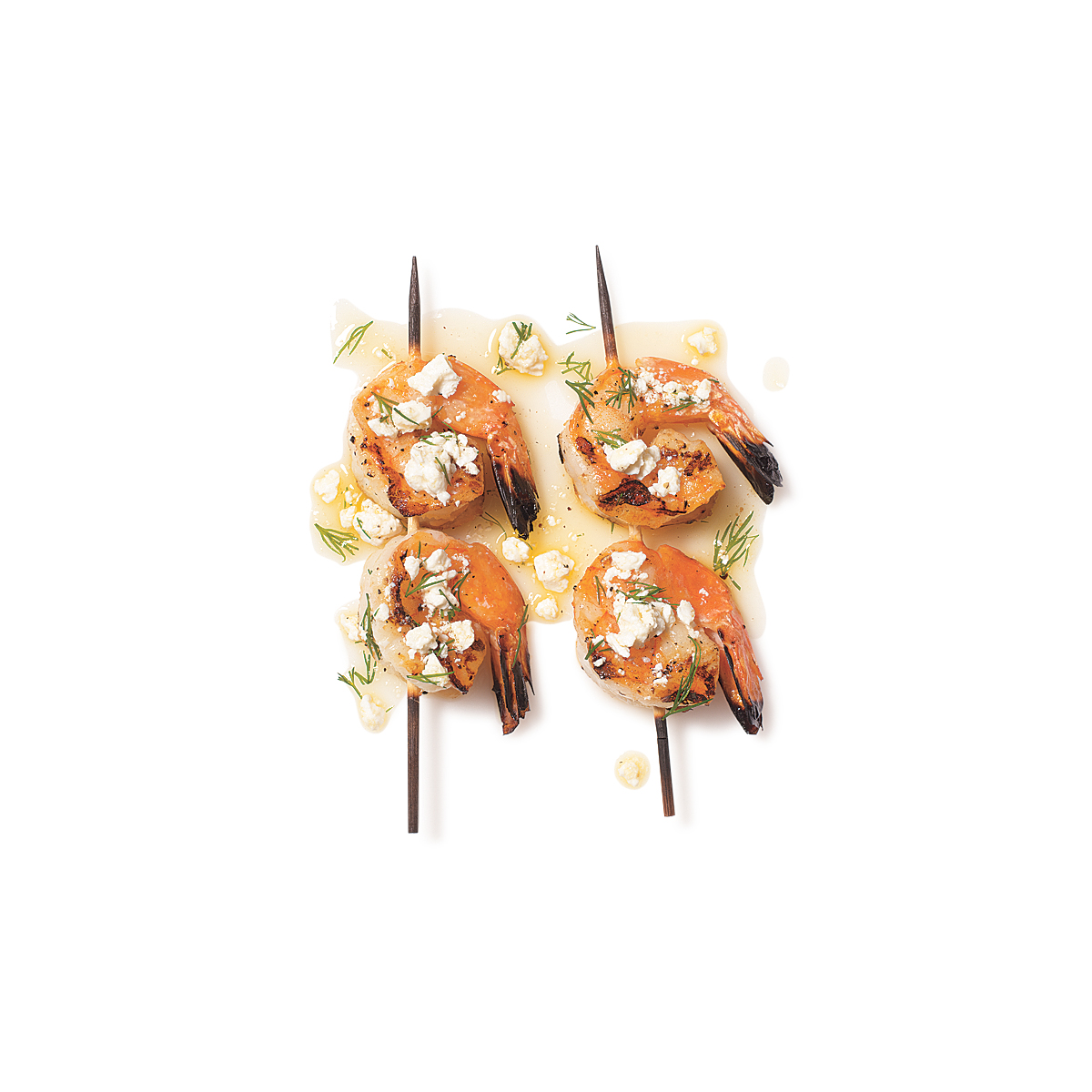 Shrimp Skewers with Dill and Feta