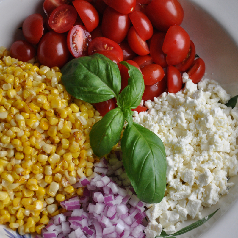 Sauteed Corn, Tomato and Feta Salad